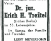 Treitel-Todesanzeigen in der deutschsprachigen Zeitung