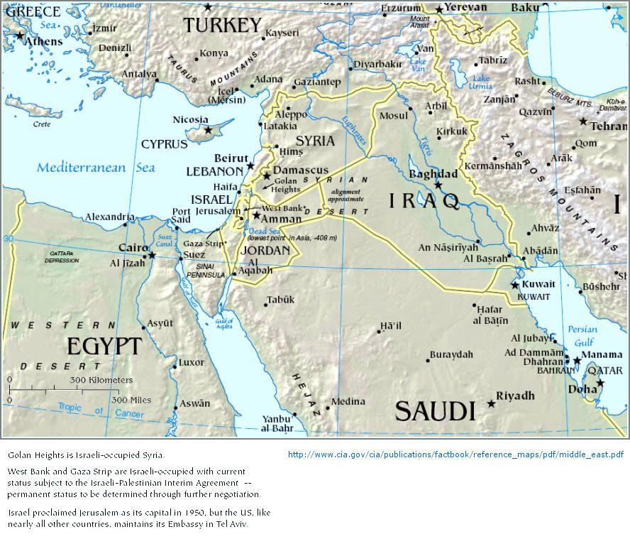 Nahost Karte.Click Nach Israel Mabat Lejisrael