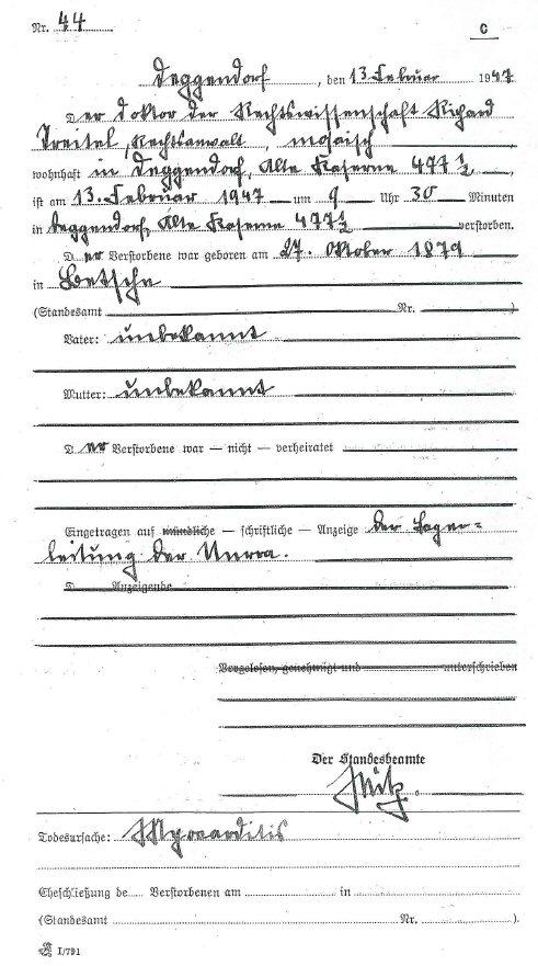 Sterbeurkunde von Dr. Richard Treitel vom 13. Februar 1947. Sein Grabstein nennt irrtümlich den 12. Februar. (Stadtarchiv Deggendorf)