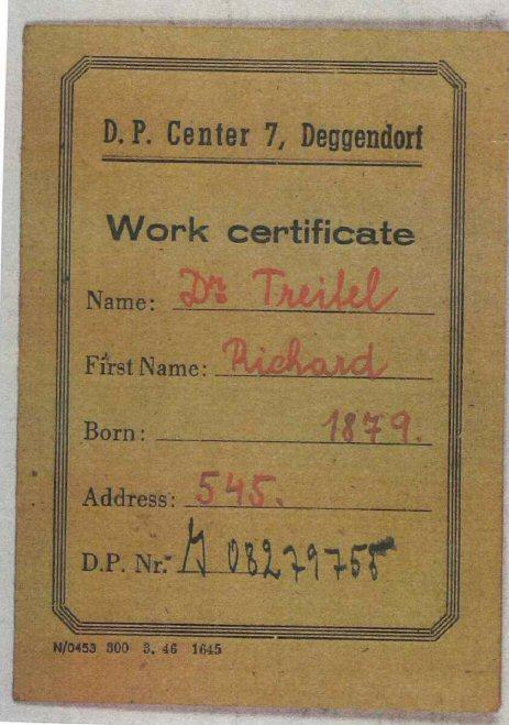 Dr. Richard Treitels Arbeitsausweis in Deggendorf. (Jüd. Museum Berlin)