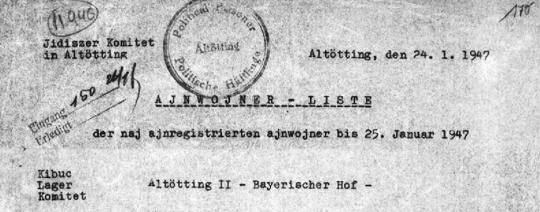 """Mitgliederverzeichnis des """"Jidiszer Komitet Altötting"""""""