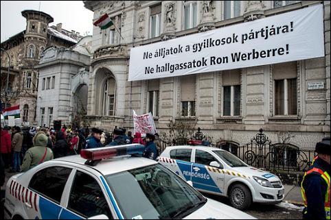 Protestdemonstration vor der Zentrale von Fidesz in Budapest