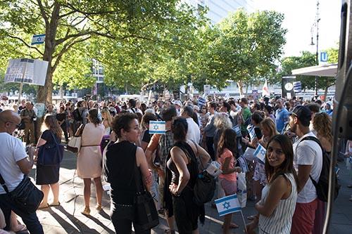Solidaritätskundgebung für Israel am 17.7. am Joachimstaler Platz, © Margrit Schmidt