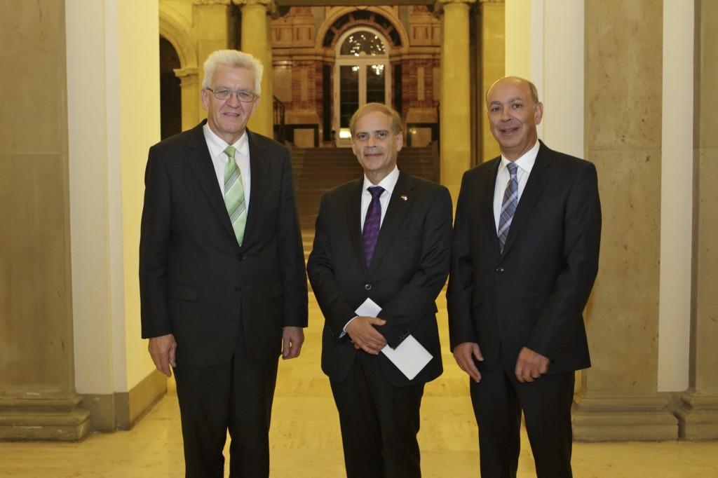 Gala-Schrimherr MP Winfried Kretschmann, Israels Botschafter Yakov Hadas-Handelsman und Daniel Mimran