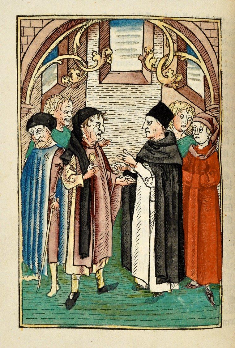 Disput zwischen Dominikanern und Juden. Illustration zu Petrus Nigers Stern des Meschiah. Holzschnitt, handkoloriert, 1477