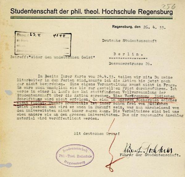 Studentenführer Rupert Fochtner bekräftigt: seine Hochschule war schon immer judenfrei