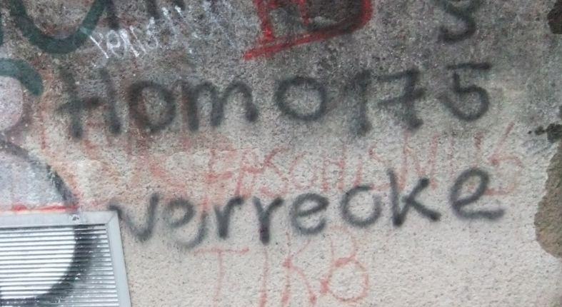 Homophobes Graffiti in Stuttgart