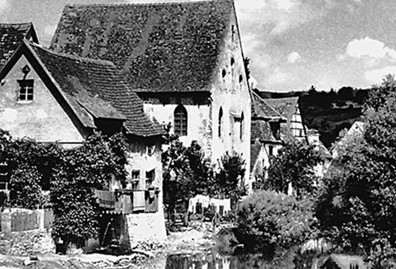 Die Synagoge Harburg von Südosten, etwa 1936