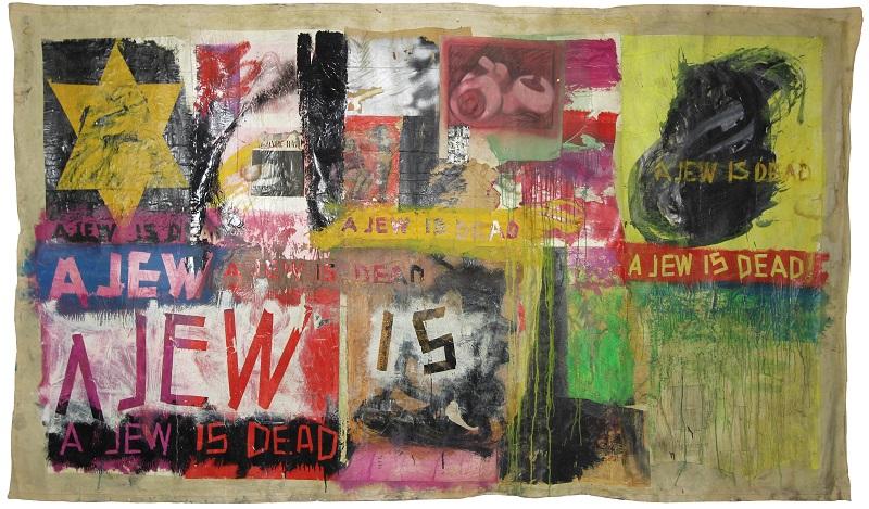 Boris Lurie, A Jew Is Dead, 1964, Collage: Öl, Papier und Klebeband auf Leinwand, 180x312 cm © Boris Lurie Art Foundation, New York