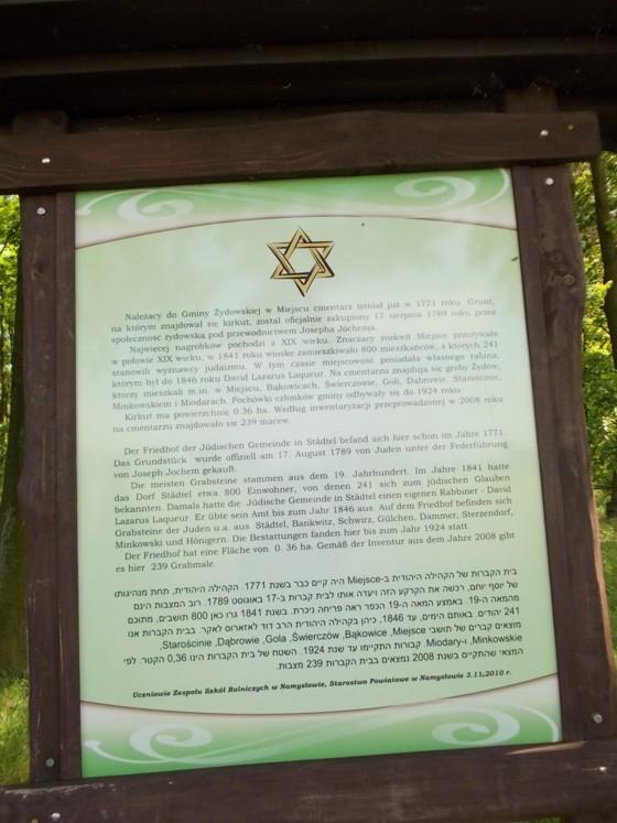 Gedenktafel jüdischer Friedhof Staedtel