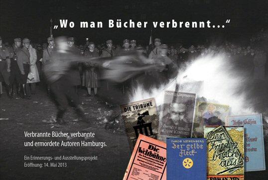 Verbrannte Bücher, verbannte und ermordete Autoren Hamburgs