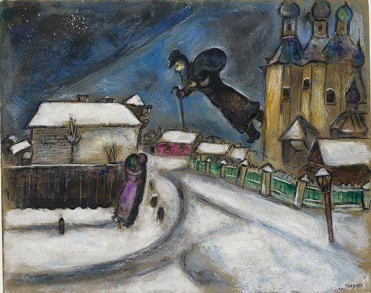 Marc Chagall, Über Witebsk, o. J. Bleistift, indische Tinte, Gouache, Wasserfarbe, Graphit und Kreide auf Karton, 51,5 x 64,3 cm Israel Museum, Jerusalem, © VG Bild-Kunst, Bonn 2010