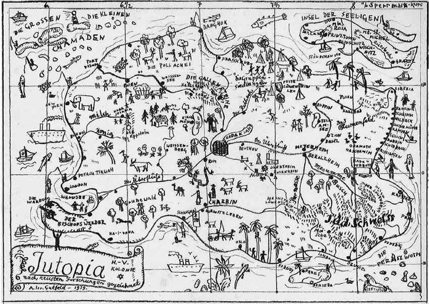 Karte der fiktiven jüdischen Inselkolonie Jutopia, bezeichnet: »H.-V. Kolonie / Jutopia / nach neusten Forschungen gezeichnet / A. Isr. Gutfeld – 1939.« © LBINY/AR 5103, MF 681, Series III: Manuscripts, 1918–1978; Subseries 1: Fiction, 1939; Box 1, Folder 31, 8 March 1939, fol. 418.