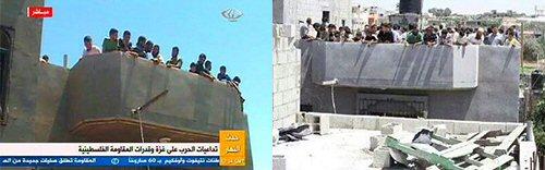 Zwei Bilder, die Palästinenser als menschliche Schutzschilde zeigen