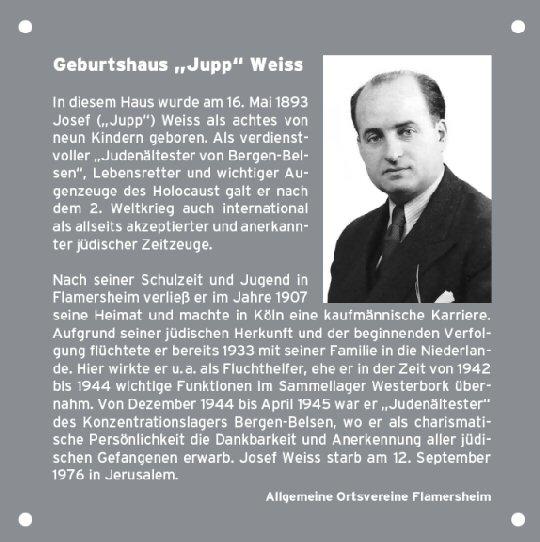 Gedenktafel am Geburtshaus des letzten Judenältesten von Bergen-Belsen