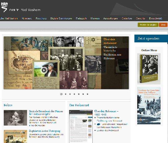 Neue Yad Vashem Seite in deutscher Sprache